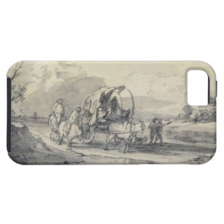 Abra el paisaje con el ganadero y el carro funda para iPhone SE/5/5s