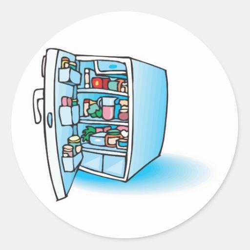 abra el refrigerador etiquetas redondas