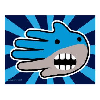Abra el tiburón azul de la boca tarjetas postales