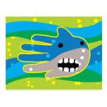 Abra el tiburón de la boca tarjetas postales