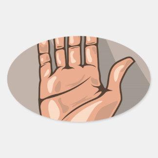 Abra el vector de la mano pegatina ovalada