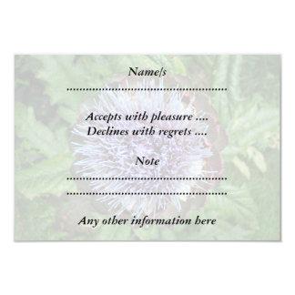 """Abra la flor de la alcachofa. Púrpura Invitación 3.5"""" X 5"""""""