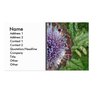 Abra la flor de la alcachofa. Púrpura Plantilla De Tarjeta De Visita