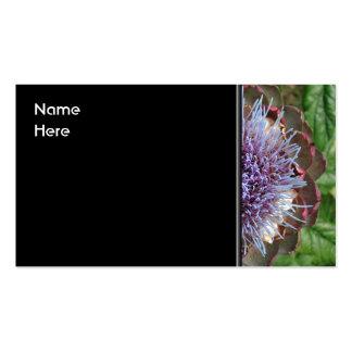 Abra la flor de la alcachofa. Púrpura Tarjetas De Visita