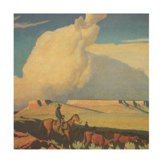Abra la gama de Maynard Dixon, vaqueros del Impresiones En Madera
