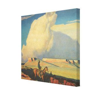 Abra la gama de Maynard Dixon, vaqueros del Impresión En Lona