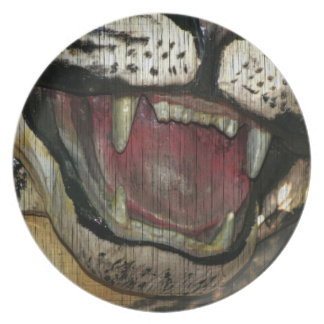 Abra la imagen grunged boca del tigre platos