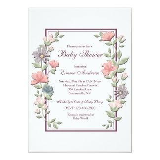 Abra la invitación floral del marco