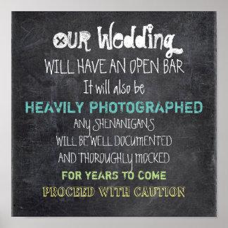 Abra la precaución de la muestra del boda de la póster