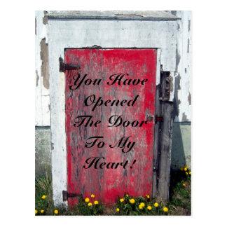 Abra la puerta en mi corazón tarjeta postal