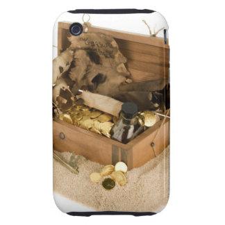 Abra la reproducción del cofre del tesoro en la iPhone 3 tough funda