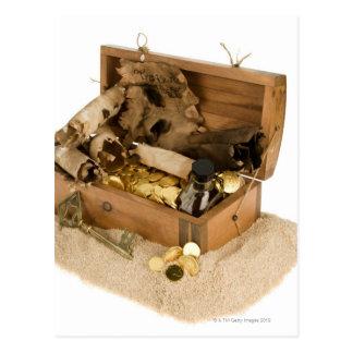 Abra la reproducción del cofre del tesoro en la postales