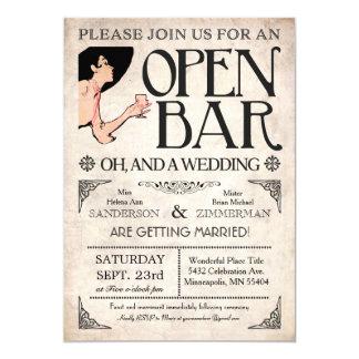 """Abra las invitaciones de la barra y de un boda invitación 5"""" x 7"""""""