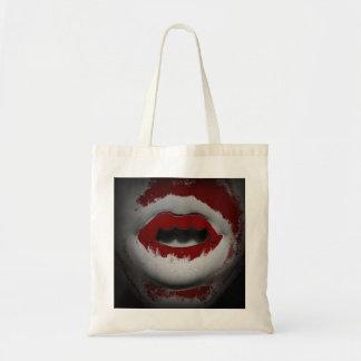 Abra los colmillos sangrientos del vampiro de la bolsa tela barata