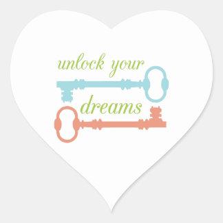 Abra los sueños pegatina en forma de corazón