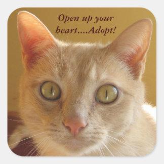 Abra su corazón….¡Adopte! Pegatina Cuadrada
