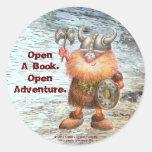 Abra un libro.  Abra la aventura Etiqueta Redonda