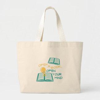Abra un libro bolsa tela grande