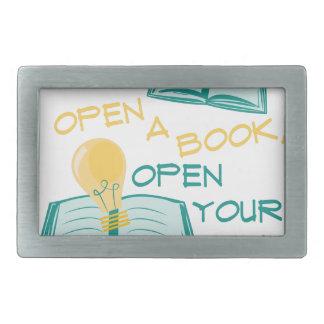 Abra un libro hebilla cinturon rectangular
