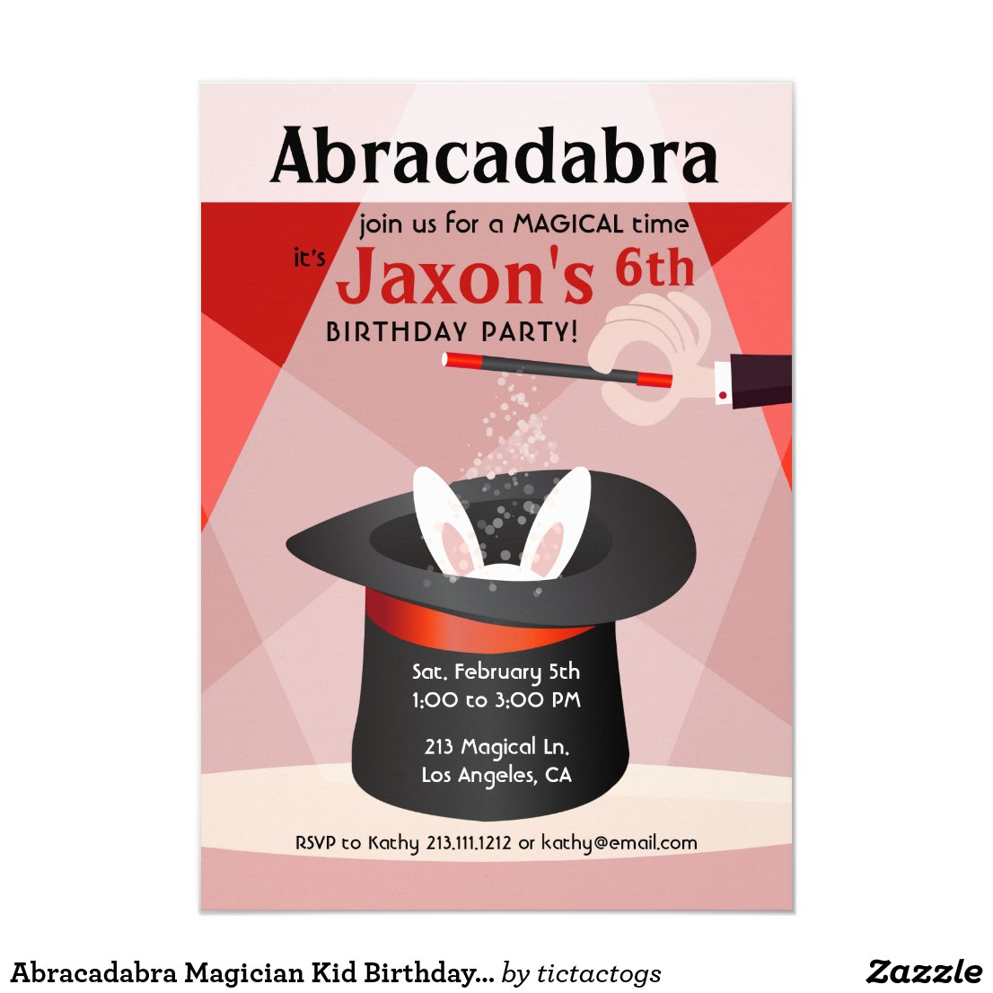 Abracadabra Magician Kid Birthday Party Invitation