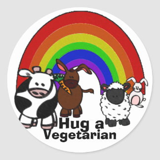 Abrace a los pegatinas de un Veggie Etiqueta Redonda
