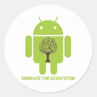 Abrace el ecosistema (el árbol de Droid Brown del Etiquetas Redondas