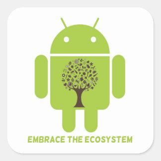 Abrace el ecosistema (el árbol de Droid Brown del Calcomanía Cuadradas Personalizadas