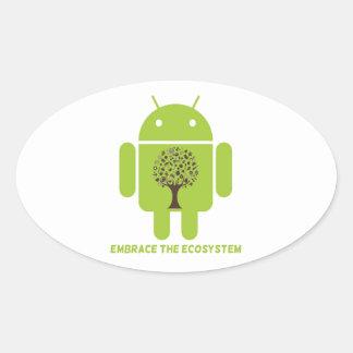Abrace el ecosistema (el roble androide de Droid Pegatina Ovalada