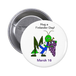 Abrace un día de Finlander - botón del St. Urho Pin