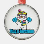 abrace un muñeco de nieve ornamento para arbol de navidad