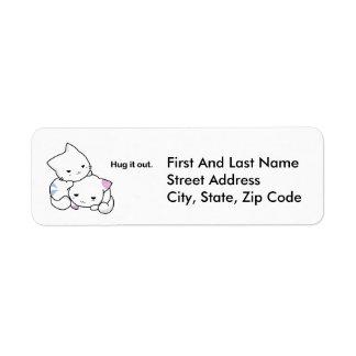 Abrácelo hacia fuera dibujo animado de los gatitos etiqueta de remitente