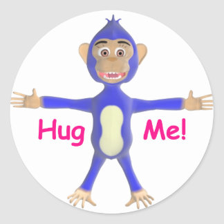 Abráceme chimpancé pegatina redonda