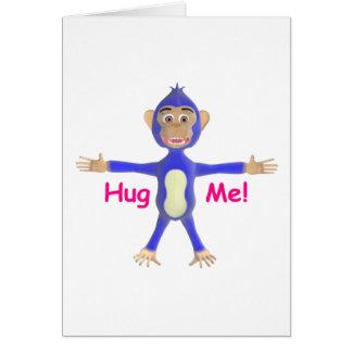 Abráceme chimpancé tarjeta de felicitación