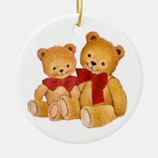 Abráceme los osos de peluche adorno navideño redondo de cerámica