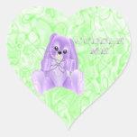 Abráceme los pegatinas del conejo de la lavanda pegatina en forma de corazón