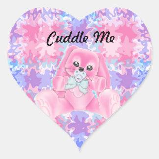 Abráceme los pegatinas rosados del conejo calcomania corazon personalizadas