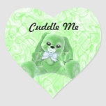 Abráceme los pegatinas verdes del conejo pegatina en forma de corazón
