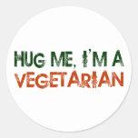 Abráceme que soy un vegetariano etiquetas