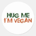 Abráceme que soy vegano etiquetas redondas