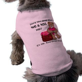 ¡Abráceme y bese! Playera Sin Mangas Para Perro