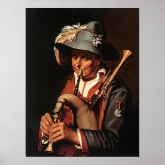 Abraham Bloemaert The Bagpiper Poster