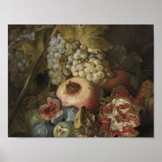 Abraham Brueghel - Still life with fruit Poster