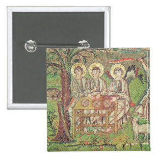 Abraham con los ángeles (mosaico) pin cuadrado
