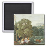 Abraham entertaining the Three Angels 2 Inch Square Magnet
