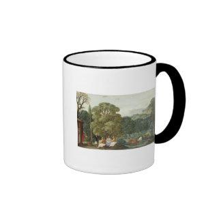 Abraham entertaining the Three Angels Ringer Coffee Mug