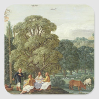 Abraham entertaining the Three Angels Square Sticker