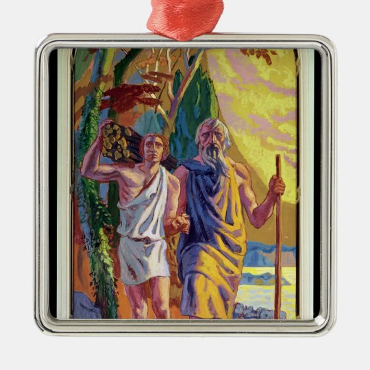 Abraham going to offer Isaac his son Metal Ornament