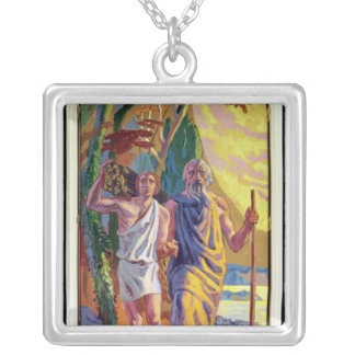 Abraham going to offer Isaac his son Square Pendant Necklace