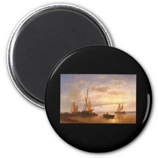 Abraham Hulk Dutch Fishing Vessels In A Calm At Su 2 Inch Round Magnet
