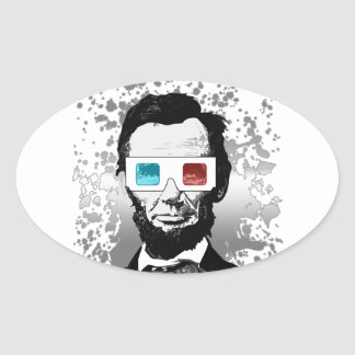 Abraham Lincoln - 3D (2) Oval Sticker